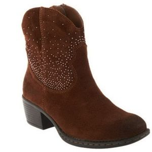B.O.C Brown Suede Studded Western Cowboy Boots 6.5